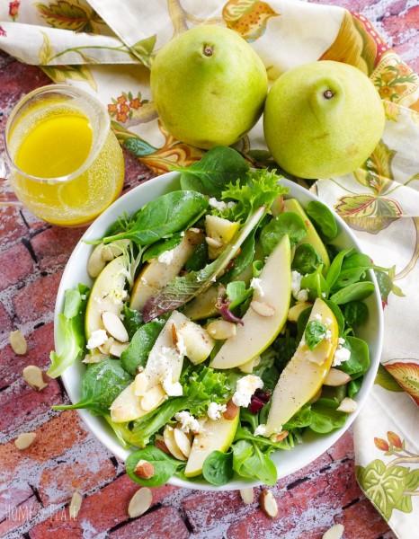 Есенна салата с круши и цитрусов дресинг 1